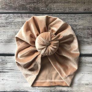 Other - Brand New Beige Velvet Baby Girl Knot Turban Hat